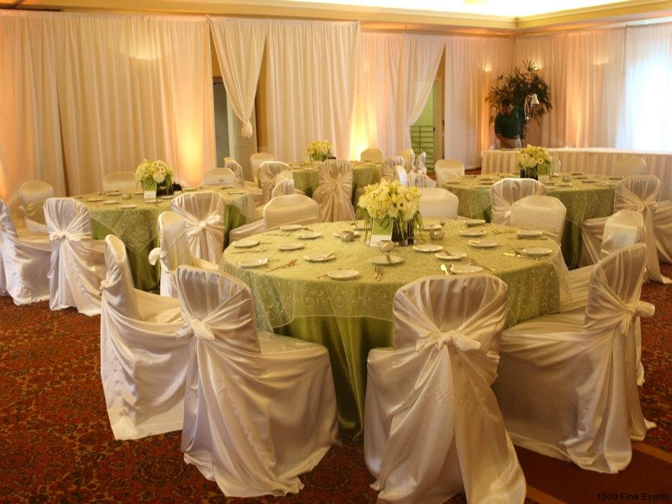 sage and white venue drape